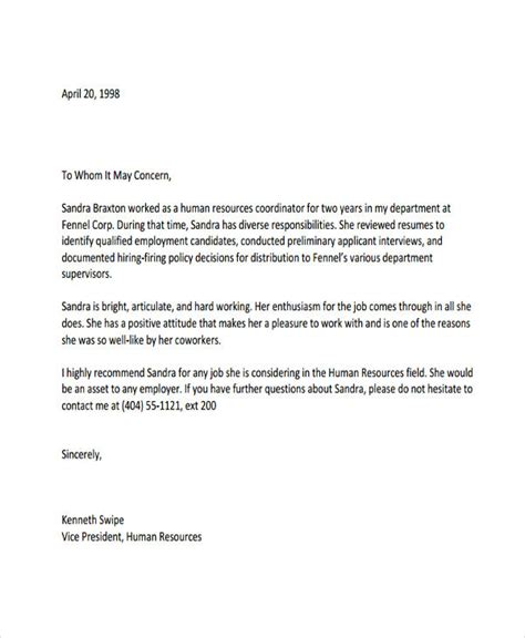 Refrence Letter Template by 6 Hr Reference Letter Templates 6 Free Word Pdf