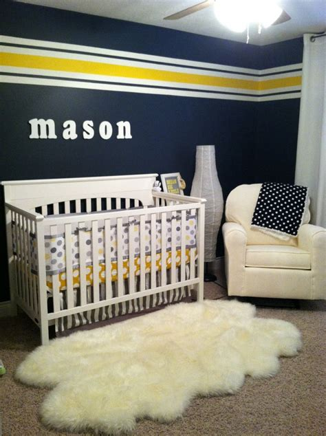 Yellow Bedroom Walls Meaning by S Navy Yellow Grey And White Nursery