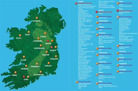 Map of Pharmaceutical Industry Locations in Ireland by ...