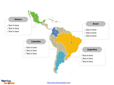 latin america map  templates  powerpoint templates