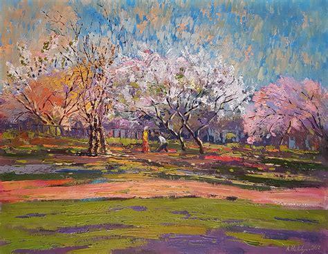 original oil painting   garden    kind