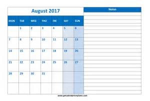 August 2017 Calendar with Holidays Printable