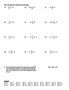 holt algebra 2 2a solving two step equations easy fractions worksheet doc pdf
