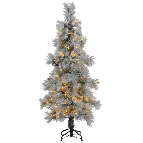 best artificial christmas trees with led lights 8 slim flocked stone pine artificial christmas tree