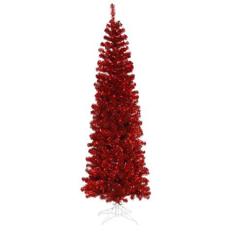 9 foot red pencil christmas tree red mini lights
