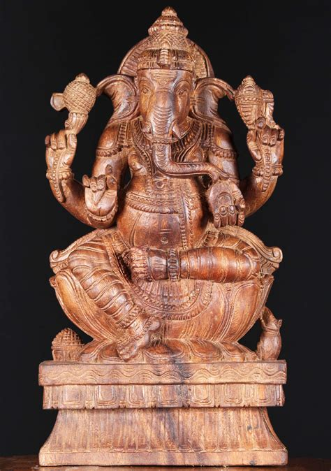 SOLD Wood Statue of Ganesha with a Rat 18