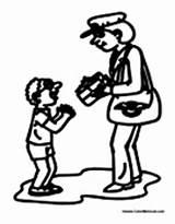 Postal Coloring Worker Mailwoman Colormegood sketch template