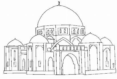 Mosque Buildings Coloring Architecture Colorear Dibujos Printable