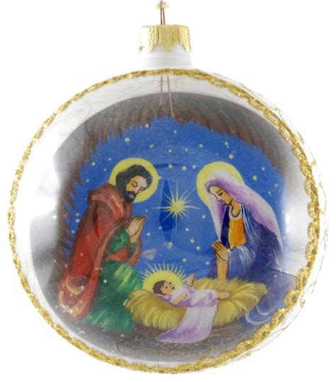 quot mary joseph and baby jesus quot reverse hand painted glass