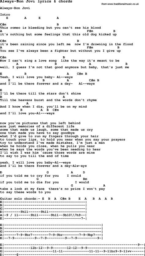 Love Song Lyrics Foralwaysbon Jovi With Chords