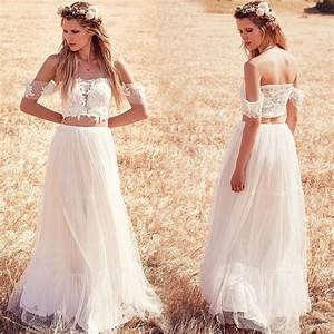 vestidos de noiva 2016 boho wedding dress lace two pieces With bohemian beach style wedding dresses