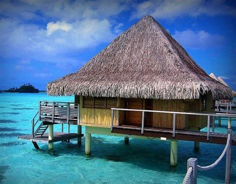 Bamboo Tiki Hut Over The Ocean, Tropical Vacation Location
