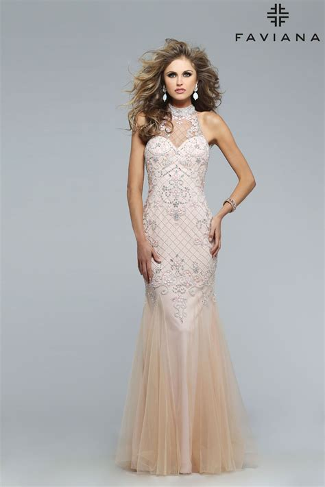 Tulle jewel neck fully beaded with godets #Faviana Style ...
