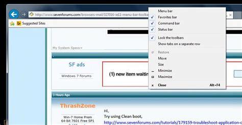 windows top bar missing ie11 menu bar and toolbars missing solved windows 7 help