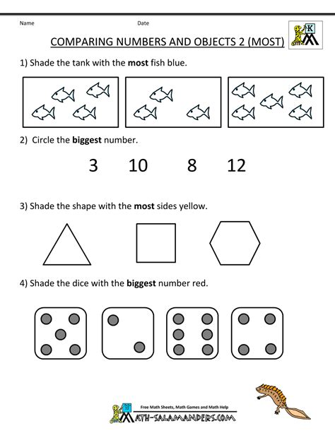 kindergarten math worksheets comparing numbers and size 266   free printables for kindergarten comparing numbers objects 2