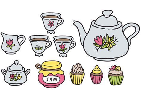 colorful high tea vectors   vector art