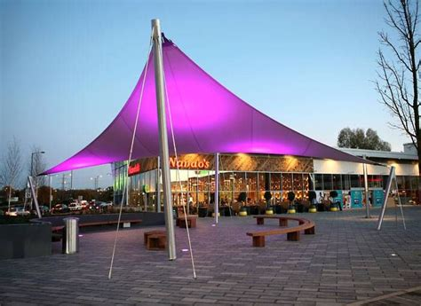 seating area fabric canopy  abbey wood retail park