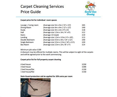 cleaning services price list template 8 cleaning price list templates free word pdf excel format free premium templates