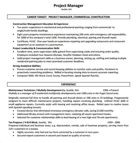 10 construction resume templates free sles exles
