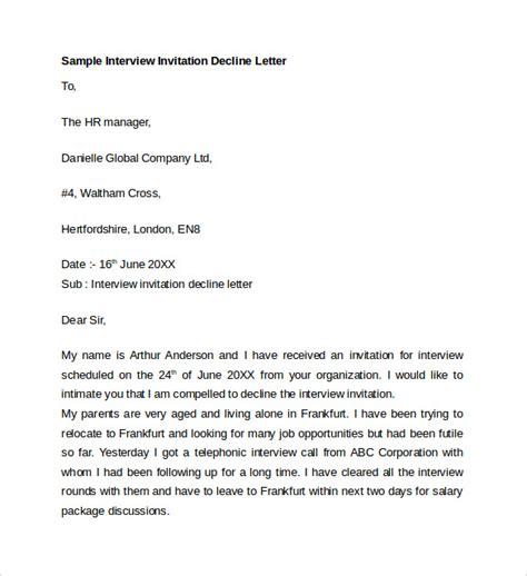 decline  interview invitation decline   sample letter