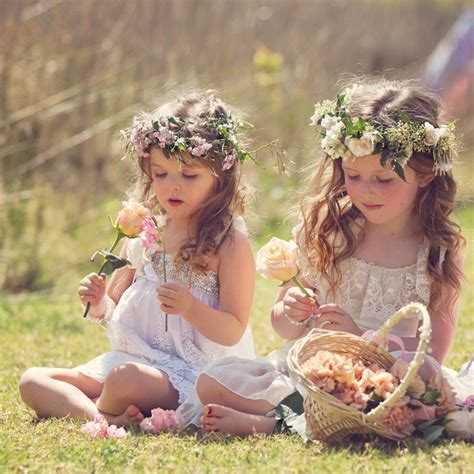Boho Wedding Ideas Flower Girl Hairstyes With Flower Crown