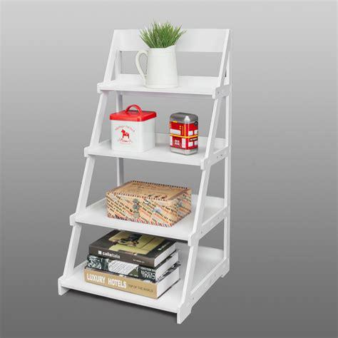 tier ladder shelf bookcase  standing plant storage organizer rack white ebay