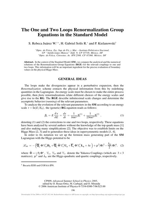 (PDF) The One and Two Loops Renormalization Group
