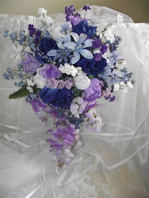 cascade dark blue  purple wedding bouquet