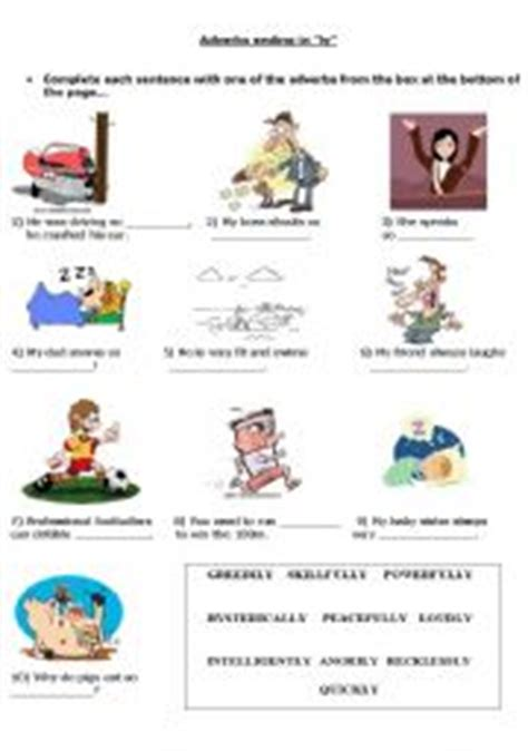 adverbs ending in quot ly quot activity sheet