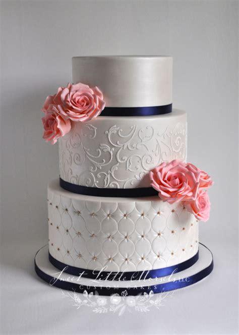 wedding cake  coral sugar roses cake  stephanie