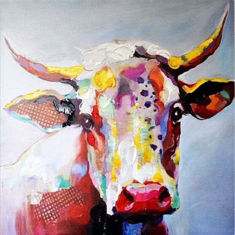 colorful cow painting big size paintings handmade wall painting color cow