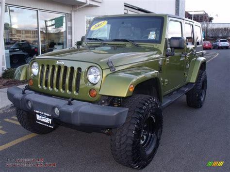dark green jeep 2007 jeep wrangler unlimited sahara 4x4 in rescue green