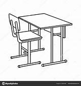 Desk Colorear Imagenes Escolares Coloring Outline Chair Mesas Drawing Template Vector Sketch sketch template