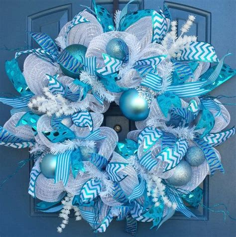blue and white wreath blue and white deco mesh wreath