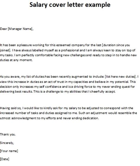 Salary Cover Letter Exle Salary Cover Letter Exle