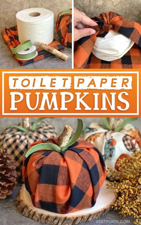 diy fall decor idea toilet paper pumpkins cheap easy