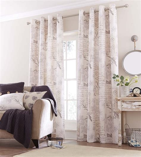simply shabby chic eyelet curtains vintage postcard retro shabby chic fully lined natural tones eyelet curtains ebay