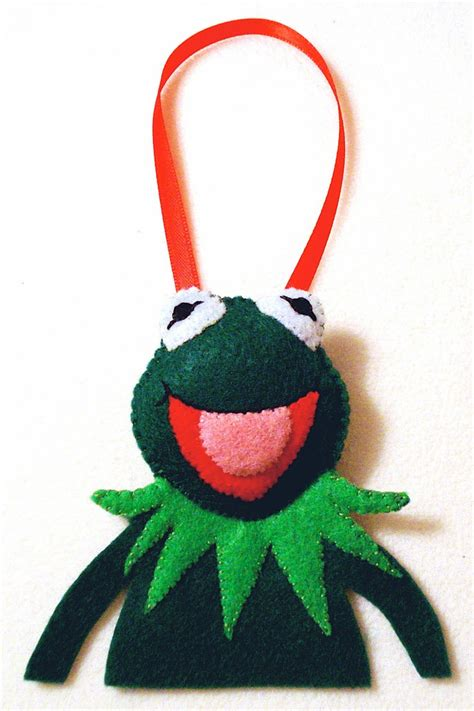 hand made felt kermit the frog ornament
