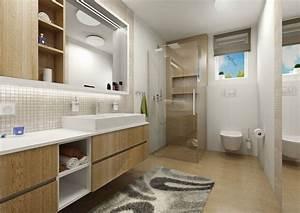 salle de bain bois et beige mosaique With salle de bain beige et bois