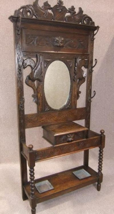 Antique Hall Stands For Sale by Victorian Greenman Hall Stand In Oak Antiques Atlas