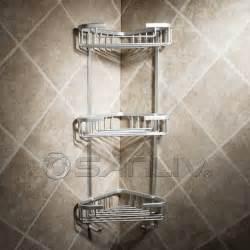 Polished Brass Bath Faucets by Wire Triple Shelf Corner Shower Basket With Sponge Holder