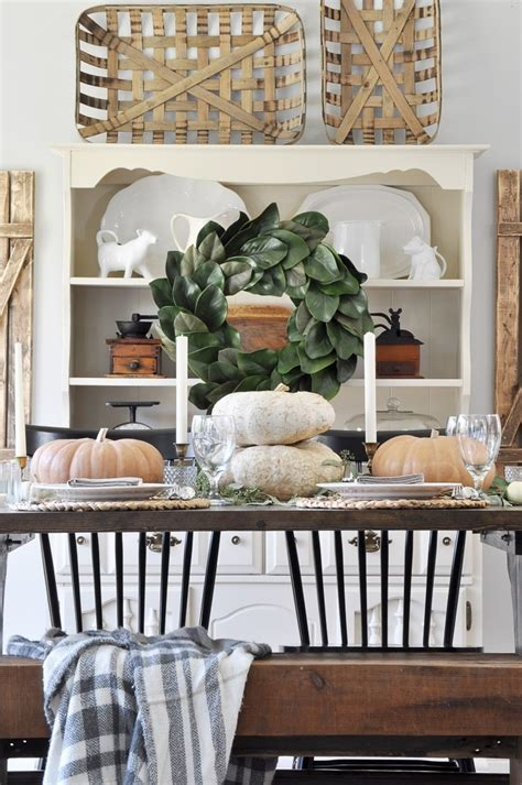 farmhouse fall tablescape  glass jar