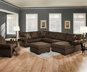 Modern minimalist living room design with dark brown u for Black and brown furniture in living room