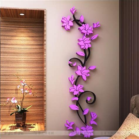 home wall decor stickers fashion pvc flower mirror home diy wall sticker living