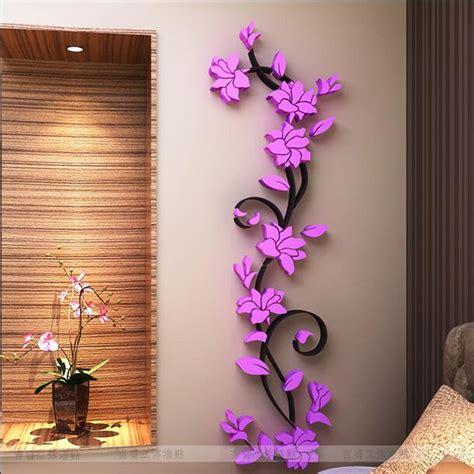 Fashion Pvc Flower Mirror Home Art Diy Wall Sticker Living