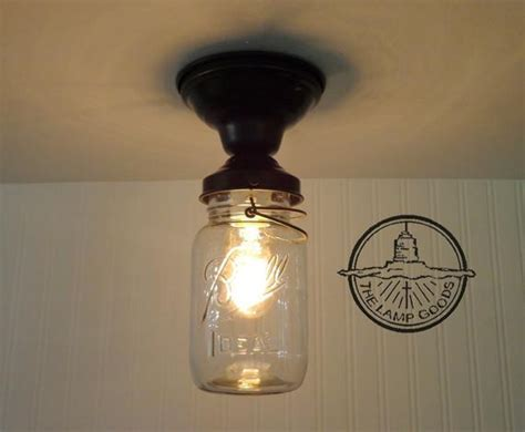 Single Vintage Quart Mason Jar Ceiling LIGHT Farmhouse
