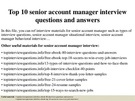 Account Manager Questions top 10 senior account manager questions and answers