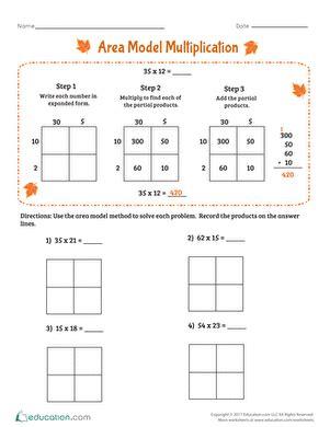 area model multiplication worksheet education