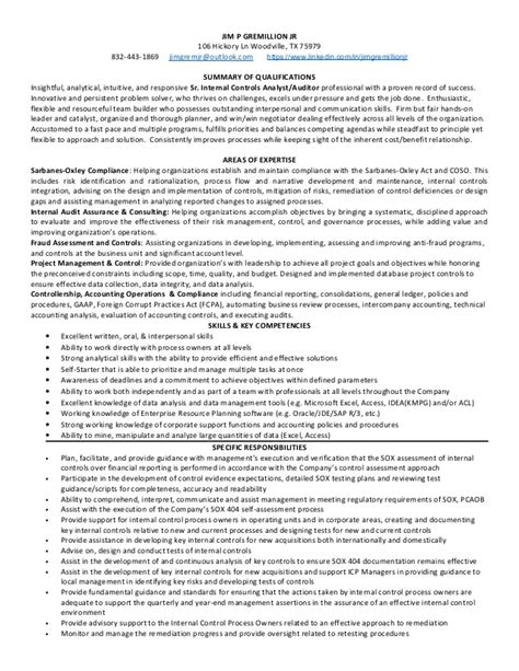 audit director resume senior controls analyst auditor houston tx resume