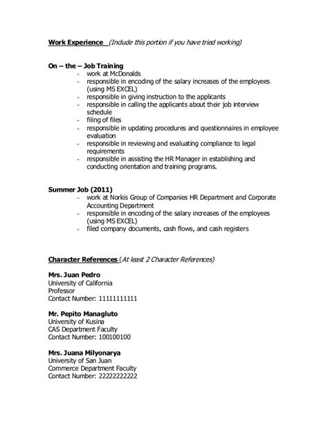 sle resume for rotc aspiring officers